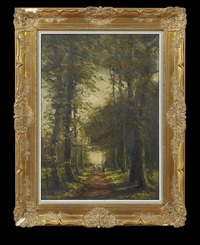 wooded interior with figure and cattle on a path by franz courtens