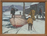 winter scene at docks by george a. renouard