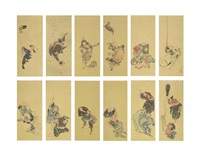 immortals, gods of good fortune and kyogen actors (12 works mountaed as a pair of 6-panel screens)) by katsushika hokusai