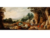 landschaft mit steinerner bogenbrücke und figurenstaffage by joos de momper the younger