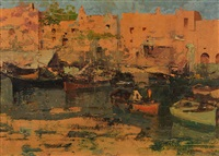 boats in the harbour and fisherman's boats on the beach (2 works) by ezelino briante