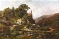 cottages at park mill, gower by ferdinand franz hoepfner