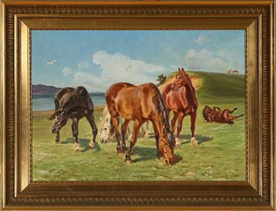 summer day with grazing horses by karl frederik christian hansen reistrup