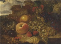 grapes, strawberries, a peach, a pear, red and white currants with a bird's nest on a ledge by james charles ward