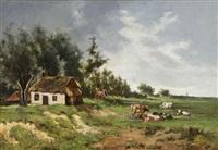 paysage avec vaches près d'une ferme by frans van damme