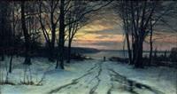 jägare i skogsglänta, vintereftermiddag by axel hjalmar lindqvist