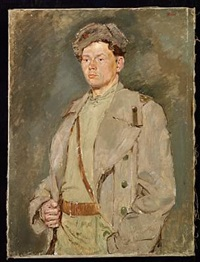 portrait of the russian world war ii hero, a. g. belyakov by vladimir il'ich malagis