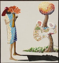girl with flowers by benny andrews
