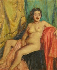 nude seated amongst drapes by hilda townsend