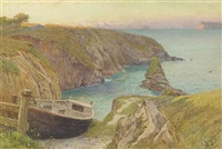 a beached fishing boat on the cornish coast at dusk by edward frederick brewtnall