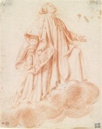 betender heiliger auf einer wolke schwebend by andrea sacchi