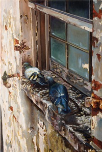 pigeon in the window, sketch for a mural by yigal ozeri