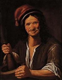 ritratto maschile con pestello by gherardo hontrearf