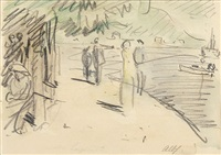 am rhein (+ kinder, an einen zaun gelehnt, pencil and color pencil, lrgr; 2 works) by albert haueisen