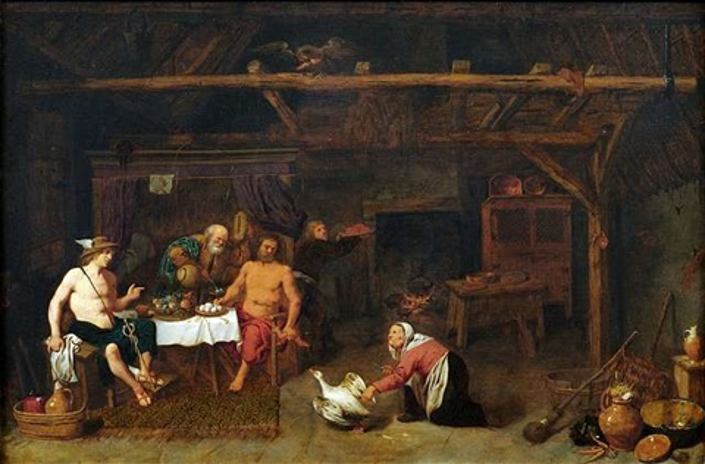 zeus und hermes zu gast bei philemon und baucis by david ryckaert iii