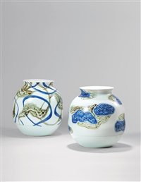 「瑞屿祥云」「青褐浪漫」青花瓷瓶 (一对) (auspicious cloud,romantics) (pair) by bai ming