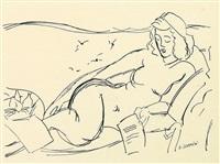 nudo femminile disteso su divano by gino severini