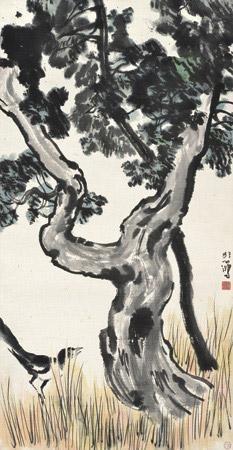 喜乐长寿 magpies by pine tree by xu beihong