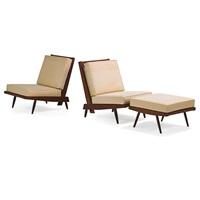 cushion lounge chairs and single ottoman (3 works) by george nakashima
