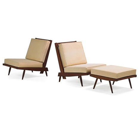 Cushion Lounge Chairs And Single Ottoman (3 Works) By George Nakashima