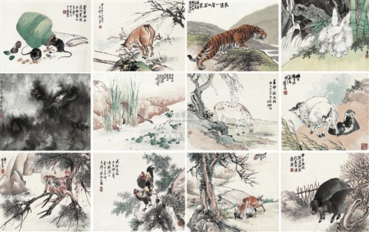 十二生肖屏 chinese zodiac set of 12 by cheng zhang and liu bin