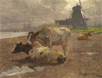 kühe in holländischer landschaft by franz gustav hochmann