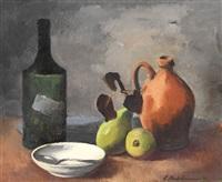 stillleben mit flasche, weißer schale, braunem krug und zwei birnen by ernst stadelmann