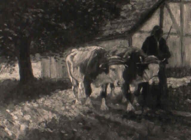 bäuerin mit ochsengespann vor der scheune auf besonntem weg by richard herdtle
