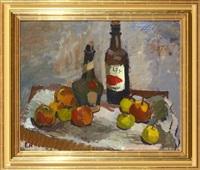 stilleben med frukter och flaskor by erling ärlingsson
