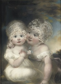 two young children wearing lace bonnets by john russell