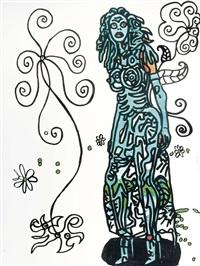 la fille bleue dans un monde merveilleux blanc et naïf rempli de dessins enfantins by robert combas