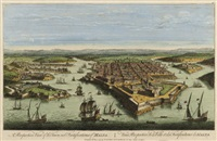 perspective view of the town and fortifications of malta (+ 12 others; 13 works) by laurie & whittle