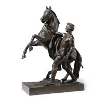 a young man taming a wild horse by baron petr karlovich klodt von jurgensburg