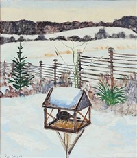 snow landscape with bird tables by lars swane