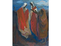 three robed figures by may (mary ellen) hillhouse
