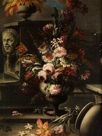 grosses stilleben mit blütenbukett, steinmasken und steinernen vasen by italian school-roman (17)
