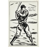 untitled (not verbally, nor on bended knee) by raymond pettibon