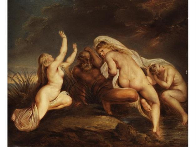 die nereïden mit ihrem vater nereus im sturm, auf die hilfe des göttervaters zeus wartend by carl josef alois agricola