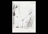 femme nue et homme a la canne by pablo picasso