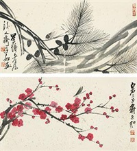 草虫花鸟 (flowers and birds) (2 works) by qi ziru
