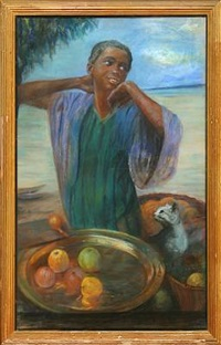 south american woman at a bowl with apples by felicitas dos santos