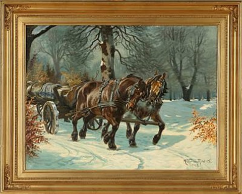winter forest with horses and carriage by karl frederik christian hansen reistrup