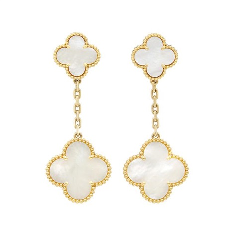 Pair of gold and mother of pearl alhambra pendant earrings van pair of gold and mother of pearl alhambra pendant earrings aloadofball Images