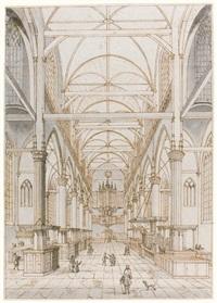two views of the interior of the oude kerk, amsterdam: a) de oudekerk van binnen b) de oudekerk van binnen ziende naar het koor (2 works) by jan goeree