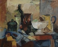 still life with jugs by eben van der merwe