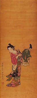 beauty with a marionette - woman holding a puppet of a male character of the kyogen drama by settei tsukioka