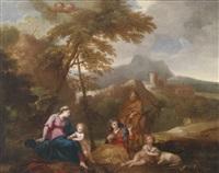 die heilige familie mit der heiligen elisabeth und dem johannesknaben in einer landschaft by giovanni battista pace