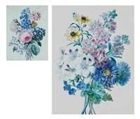 chrysanthèmes bleus, dahlias jaunes, géraniums blancs et autres fleurs (+ roses, auriculae bleues et autres fleurs; pair) by adèle riché