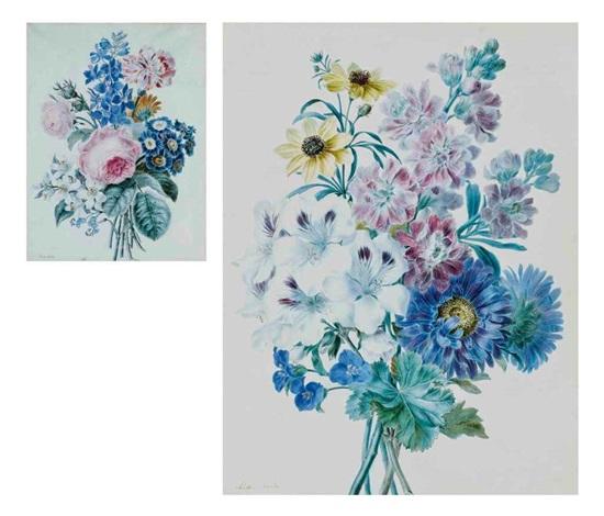 chrysanthèmes bleus dahlias jaunes géraniums blancs et autres fleurs roses auriculae bleues et autres fleurs pair by adèle riché