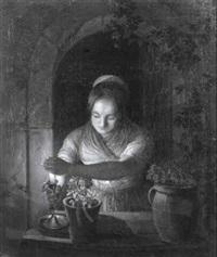 junge münchnerin mit riegelhaube vor einem fensterbrett by friedrich simon